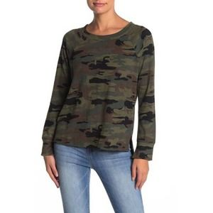 Sanctuary Camo Sweatshirt Sweater Top Army Green
